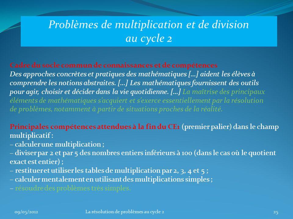 Problèmes de multiplication et de division