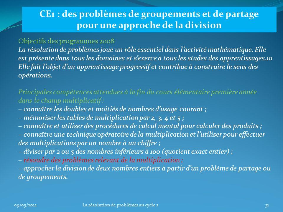 CE1 : des problèmes de groupements et de partage