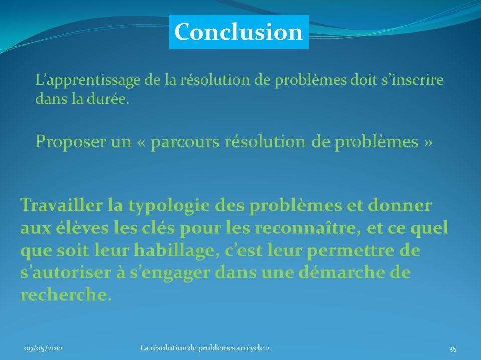 Conclusion Proposer un « parcours résolution de problèmes »