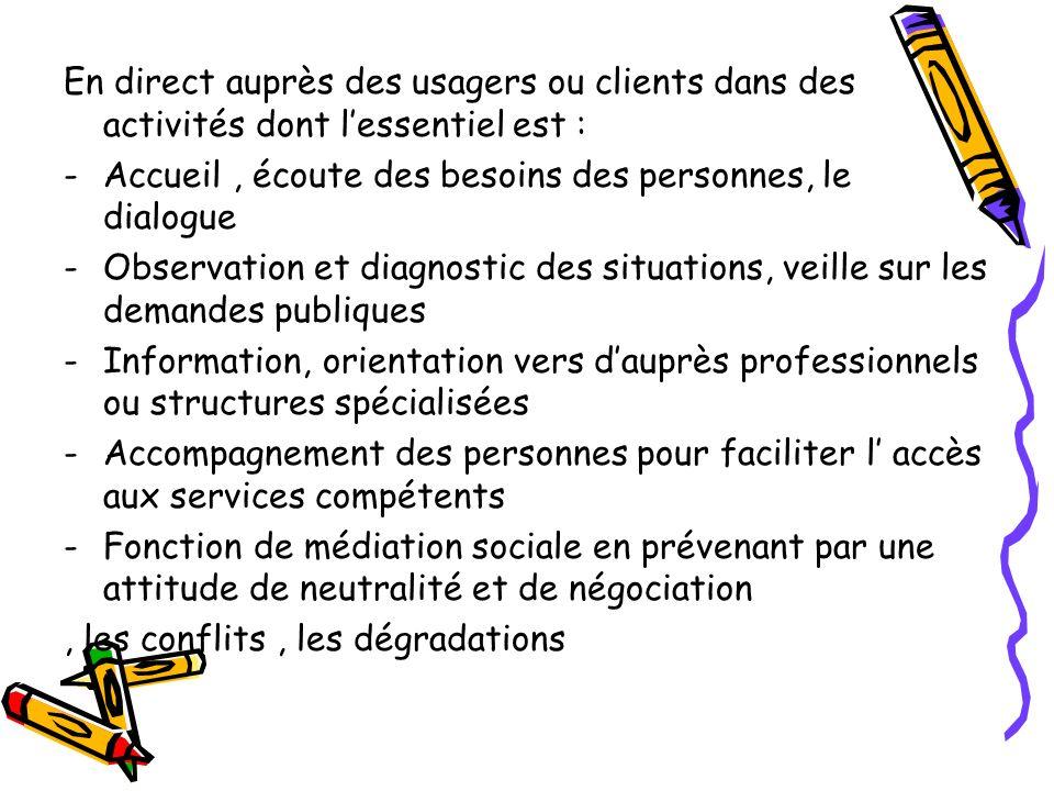 En direct auprès des usagers ou clients dans des activités dont l'essentiel est :