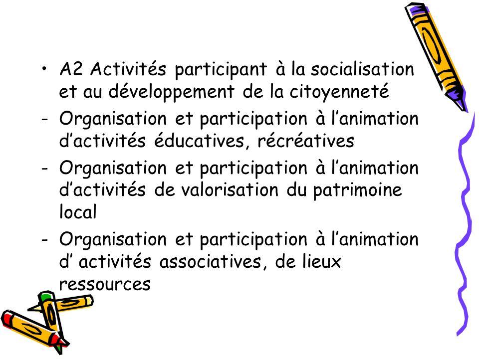 A2 Activités participant à la socialisation et au développement de la citoyenneté