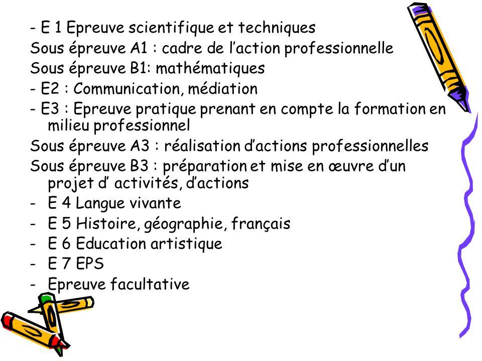 - E 1 Epreuve scientifique et techniques