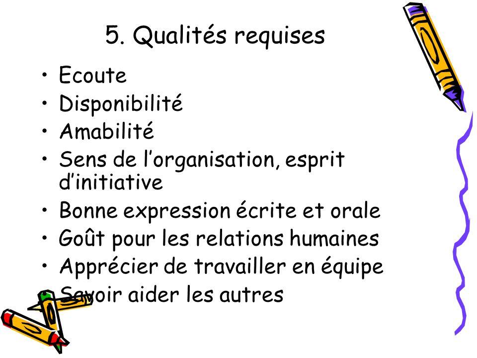 5. Qualités requises Ecoute Disponibilité Amabilité