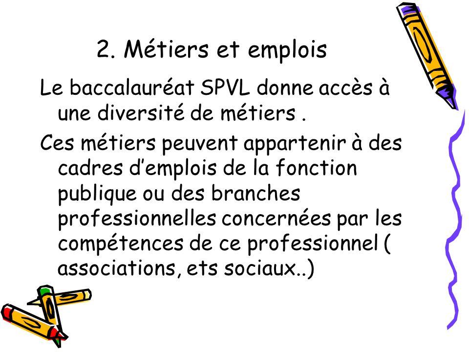 2. Métiers et emplois Le baccalauréat SPVL donne accès à une diversité de métiers .