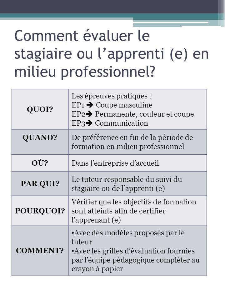 Comment évaluer le stagiaire ou l'apprenti (e) en milieu professionnel