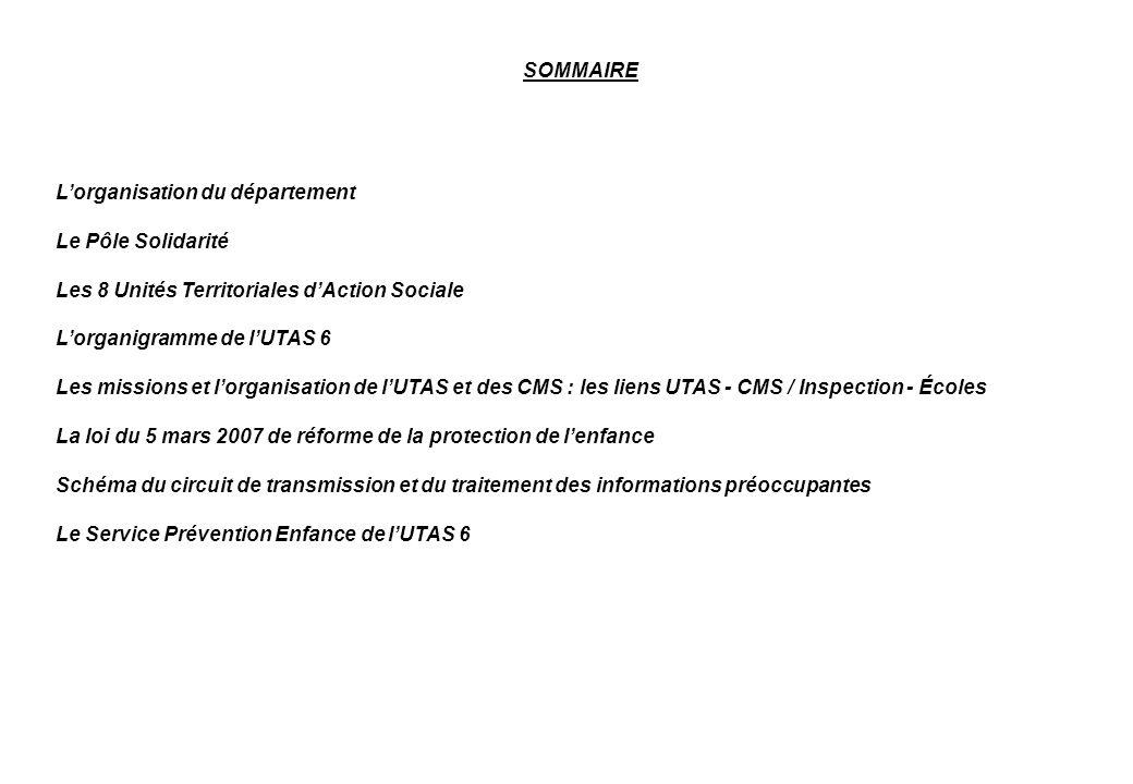 SOMMAIRE L'organisation du département. Le Pôle Solidarité. Les 8 Unités Territoriales d'Action Sociale.