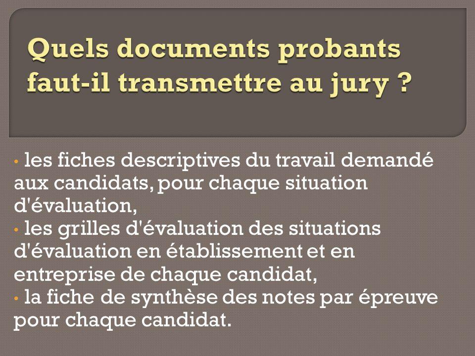 Quels documents probants faut-il transmettre au jury