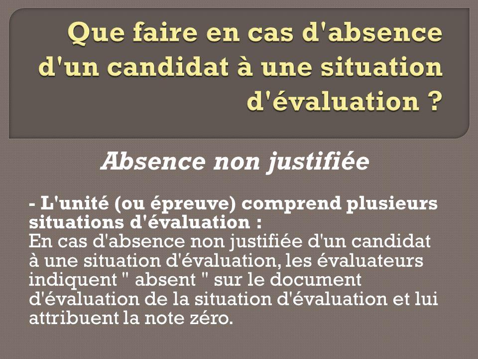 Que faire en cas d absence d un candidat à une situation d évaluation