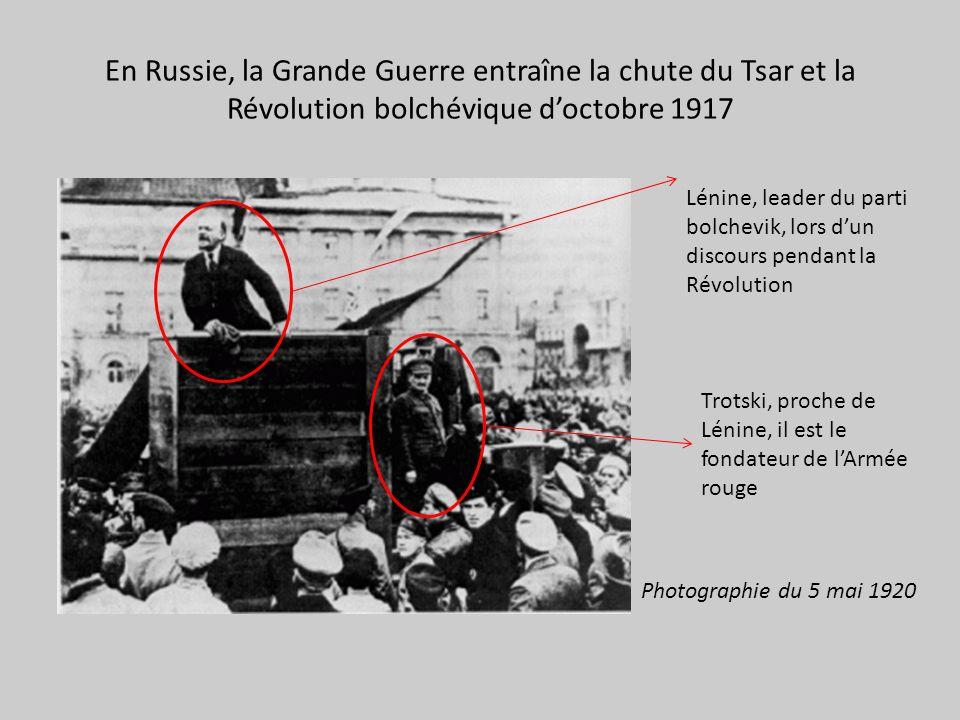 En Russie, la Grande Guerre entraîne la chute du Tsar et la Révolution bolchévique d'octobre 1917