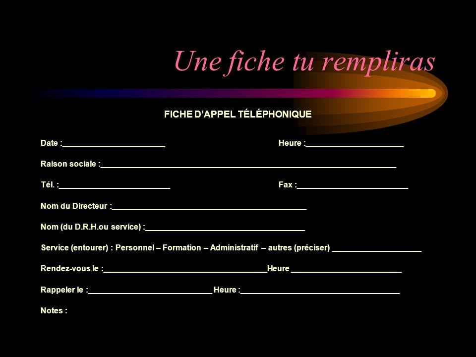 FICHE D'APPEL TÉLÉPHONIQUE