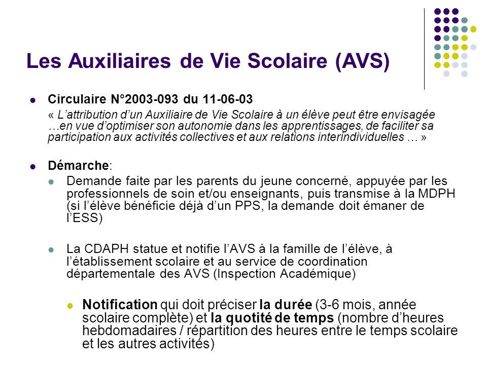 Les Auxiliaires de Vie Scolaire (AVS)