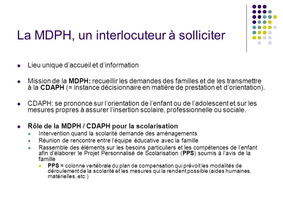 La MDPH, un interlocuteur à solliciter