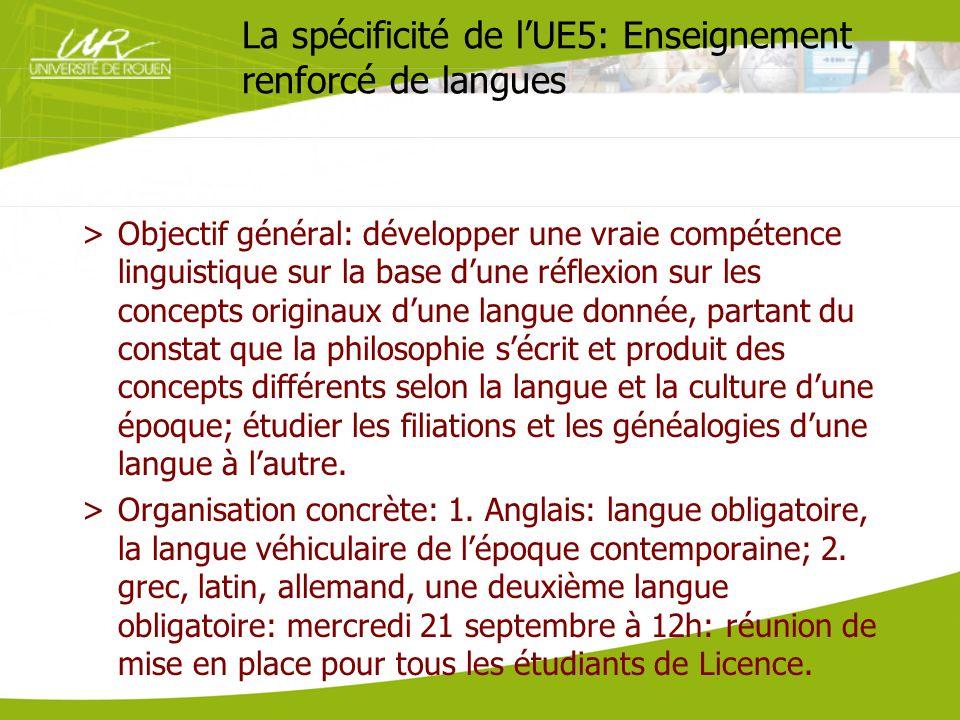 La spécificité de l'UE5: Enseignement renforcé de langues