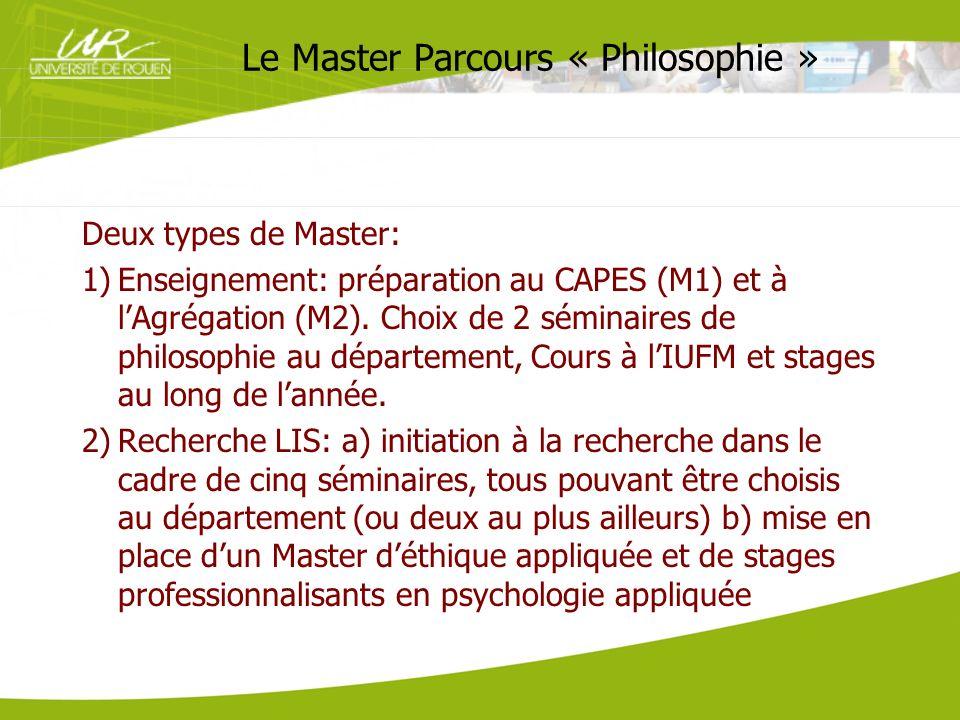 Le Master Parcours « Philosophie »