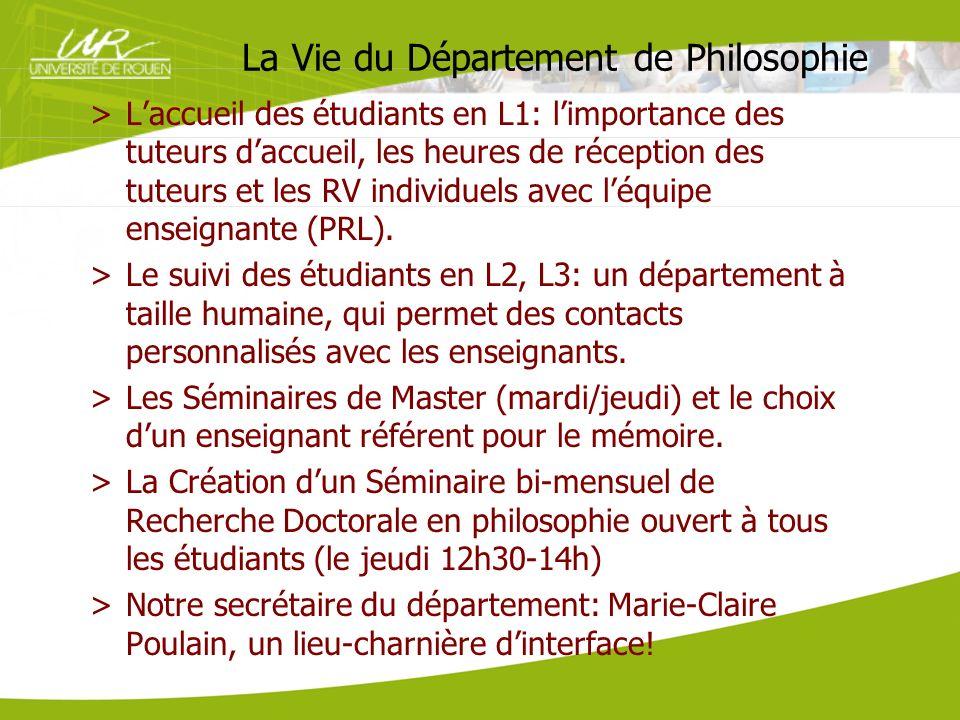La Vie du Département de Philosophie