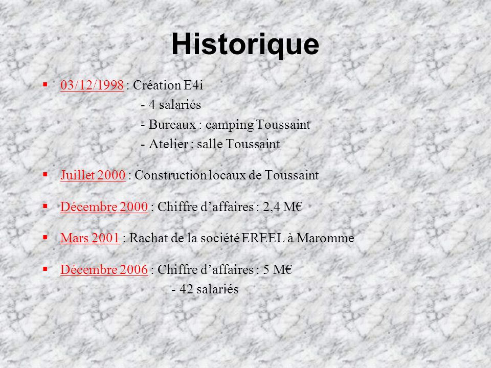 Historique 03/12/1998 : Création E4i - 4 salariés