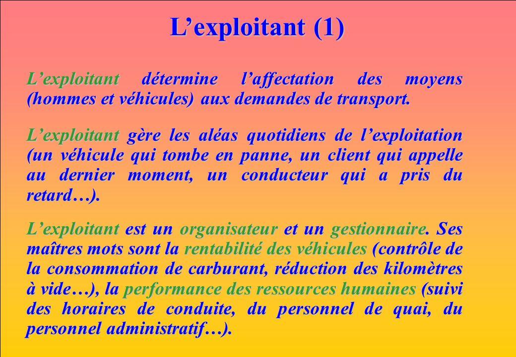 L'exploitant (1) L'exploitant détermine l'affectation des moyens (hommes et véhicules) aux demandes de transport.