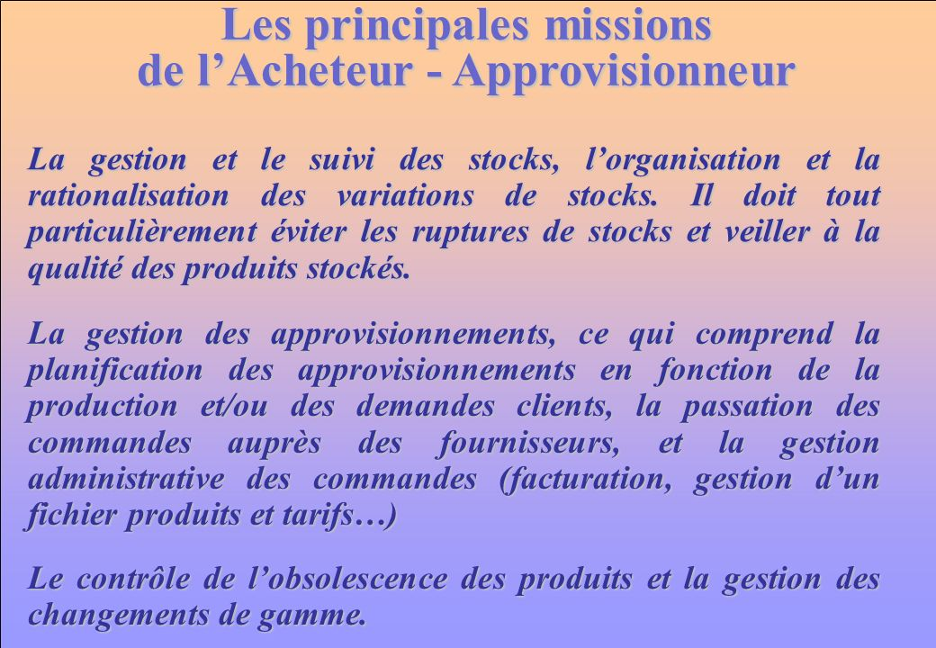 Les principales missions de l'Acheteur - Approvisionneur