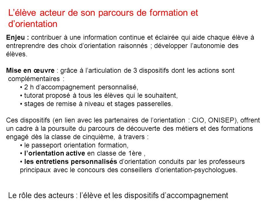 Le rôle des acteurs : l'élève et les dispositifs d'accompagnement