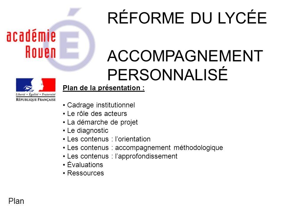 RÉFORME DU LYCÉE ACCOMPAGNEMENT PERSONNALISÉ Plan