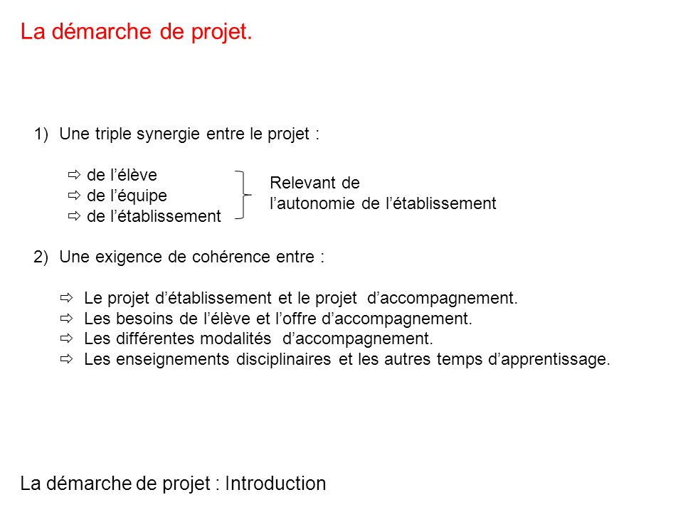 La démarche de projet : Introduction