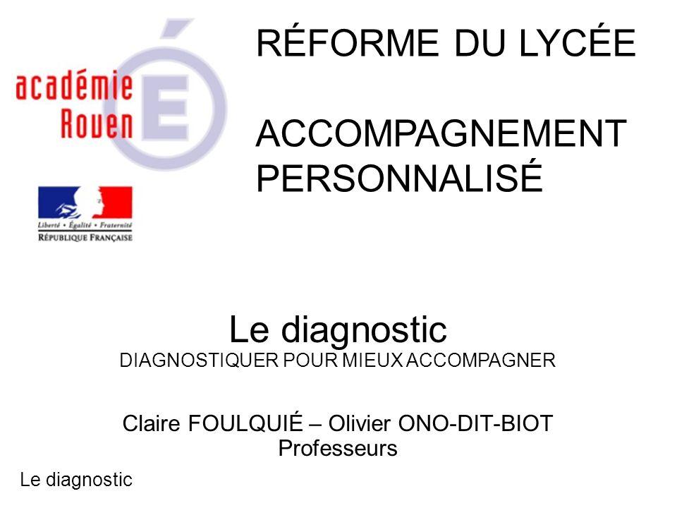 RÉFORME DU LYCÉE ACCOMPAGNEMENT PERSONNALISÉ Le diagnostic