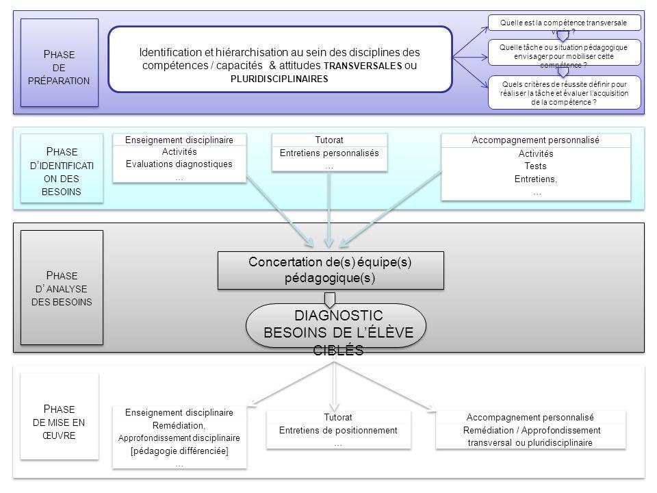 Le diagnostic : bilan DIAGNOSTIC BESOINS DE L'ÉLÈVE CIBLÉS