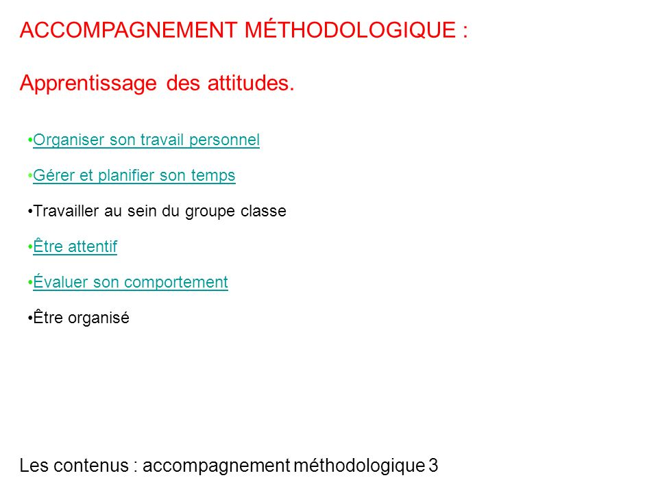 Les contenus : accompagnement méthodologique 3