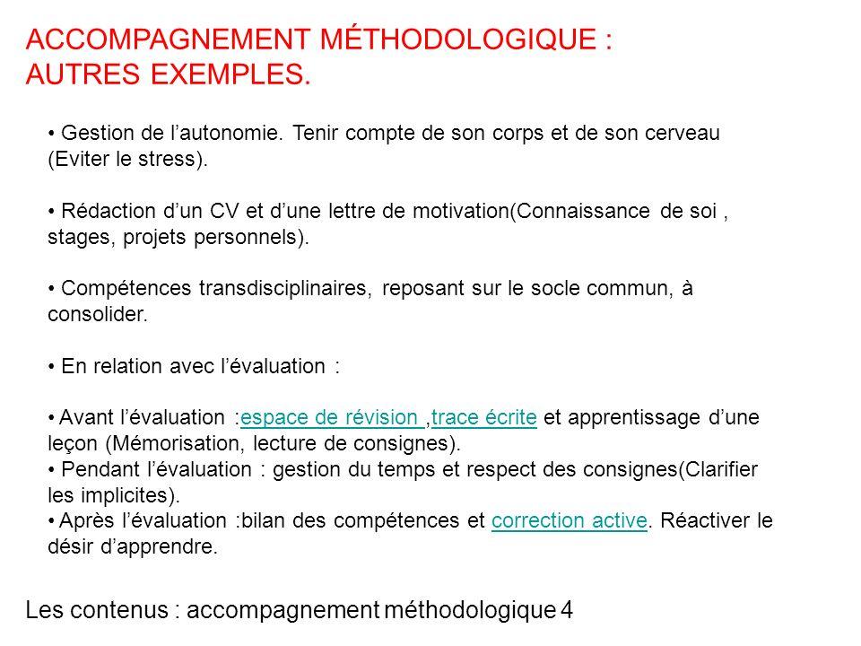 Les contenus : accompagnement méthodologique 4