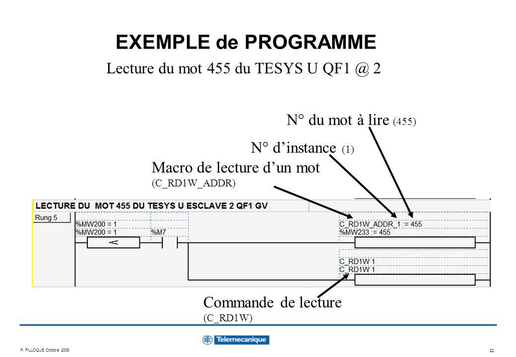 Lecture du mot 455 du TESYS U QF1 @ 2
