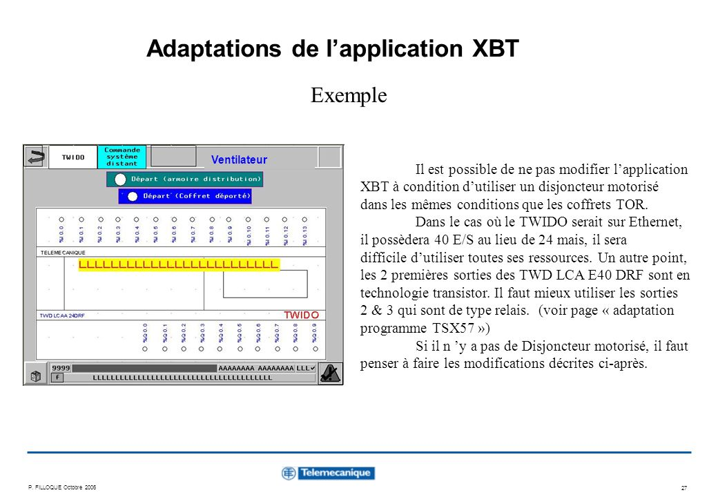 Adaptations de l'application XBT