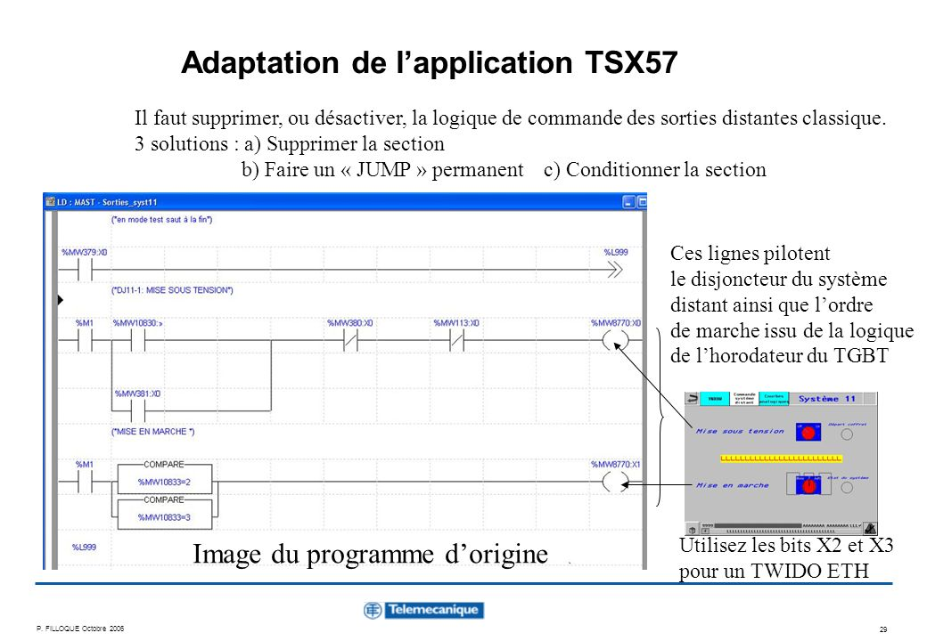 Adaptation de l'application TSX57