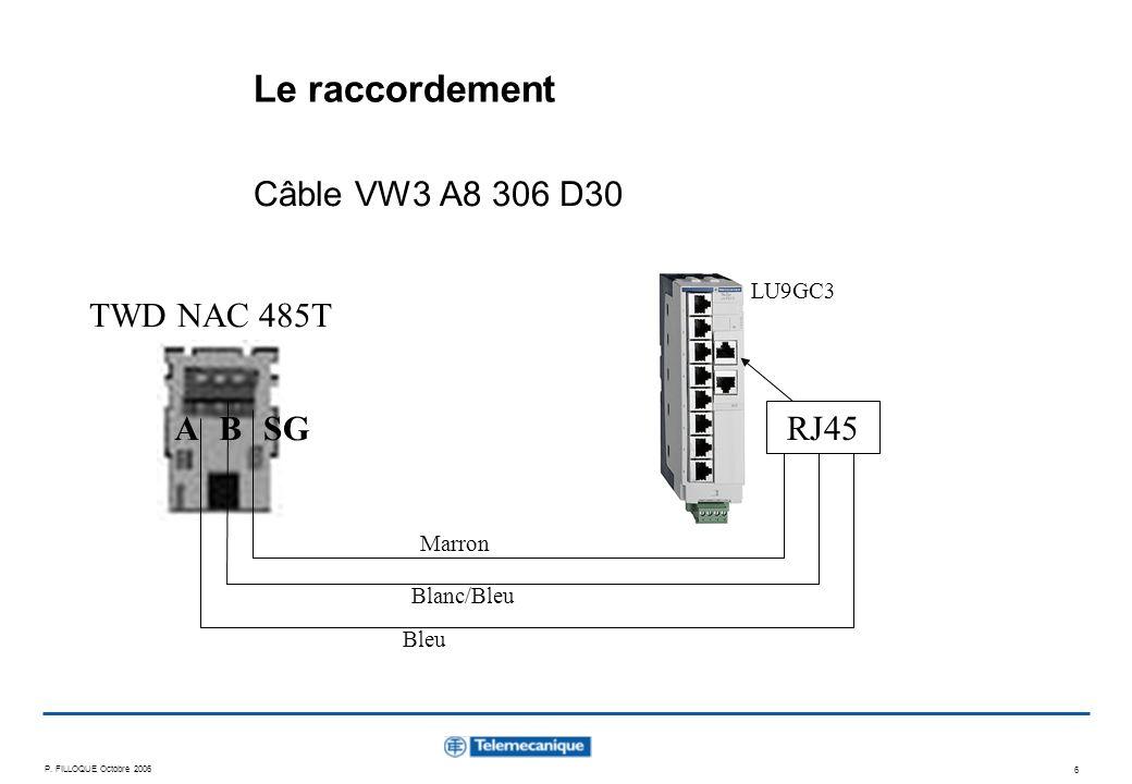 Le raccordement Câble VW3 A8 306 D30 TWD NAC 485T A B SG RJ45 LU9GC3