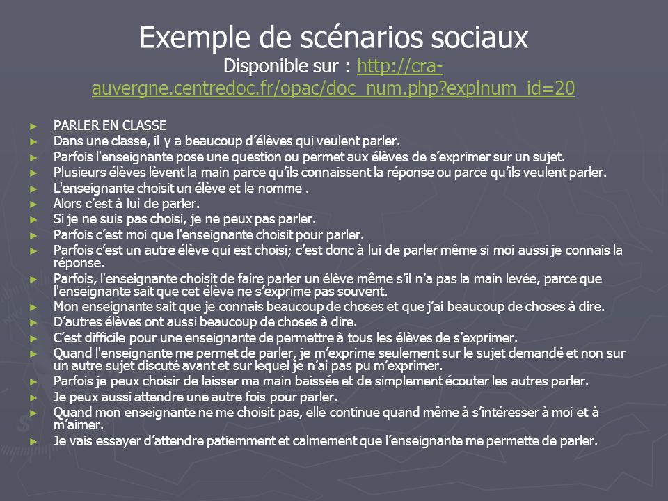 Exemple de scénarios sociaux Disponible sur : http://cra-auvergne