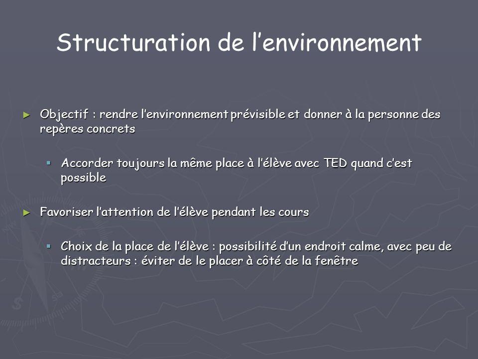 Structuration de l'environnement