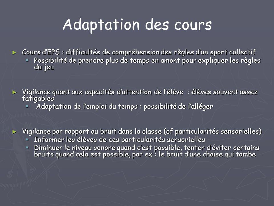 Adaptation des cours Cours d'EPS : difficultés de compréhension des règles d'un sport collectif.