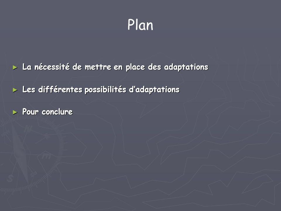 Plan La nécessité de mettre en place des adaptations