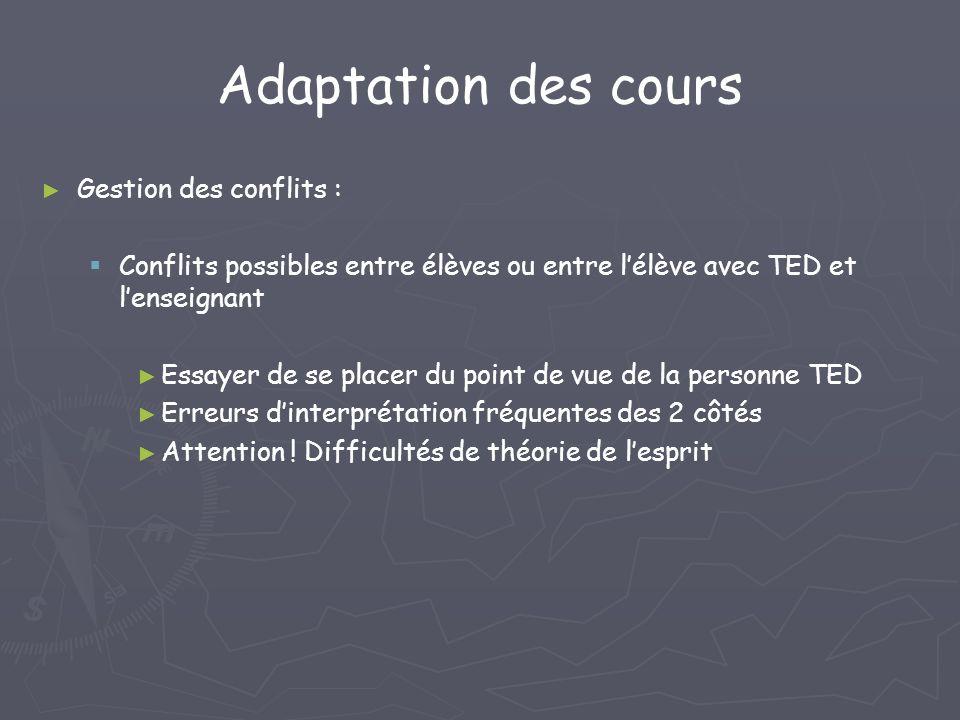 Adaptation des cours Gestion des conflits :