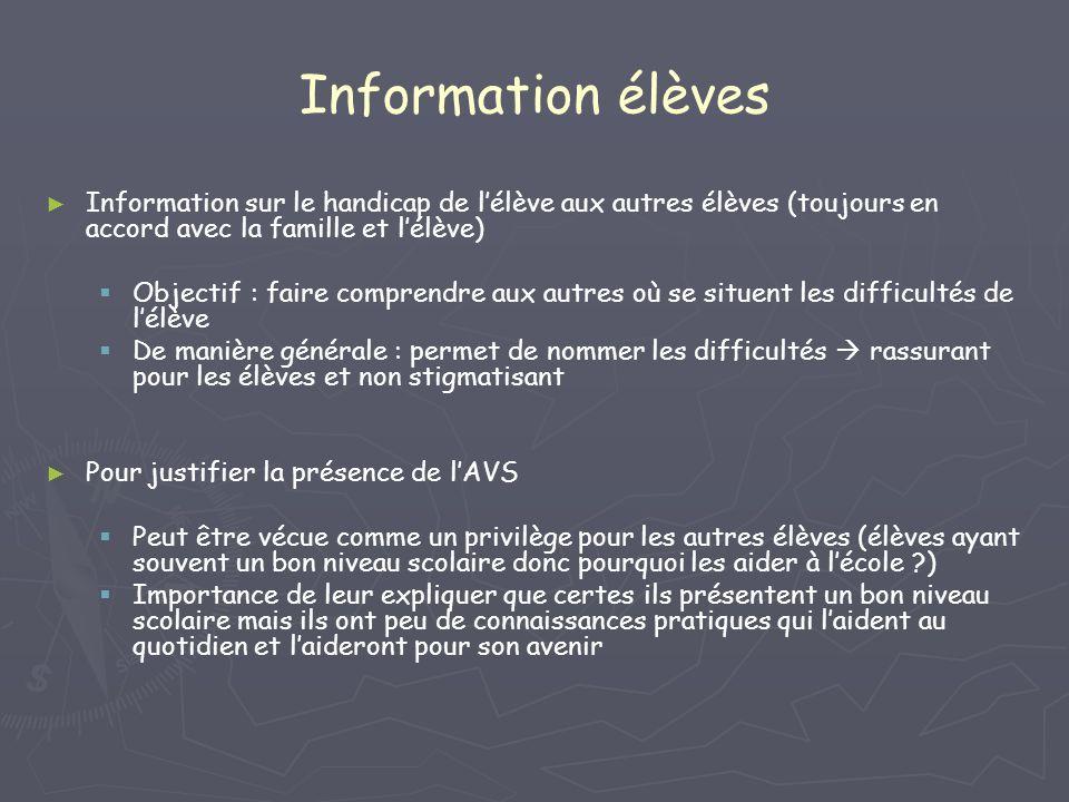 Information élèves Information sur le handicap de l'élève aux autres élèves (toujours en accord avec la famille et l'élève)