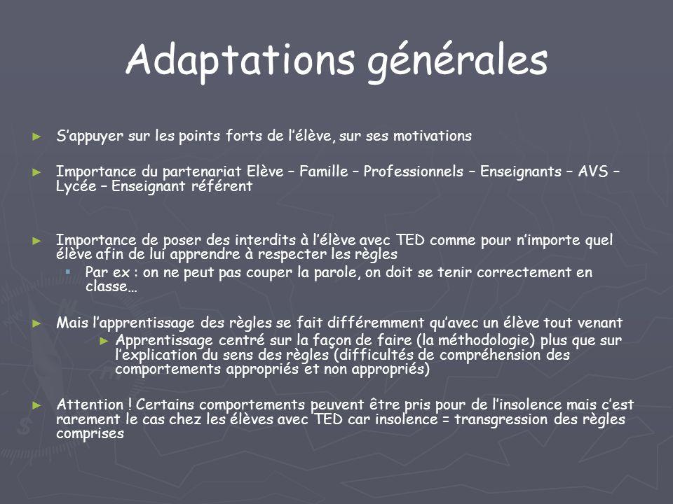 Adaptations générales