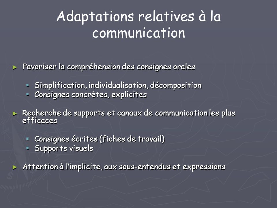 Adaptations relatives à la communication