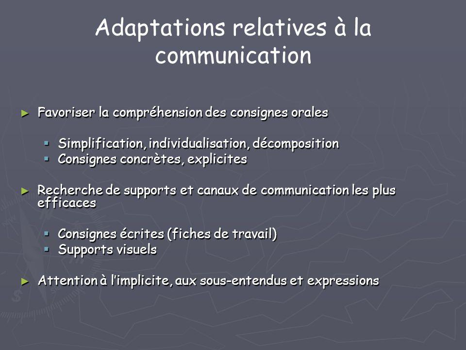 Adaptations relatives à la communication