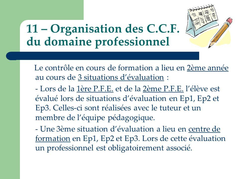 11 – Organisation des C.C.F. du domaine professionnel