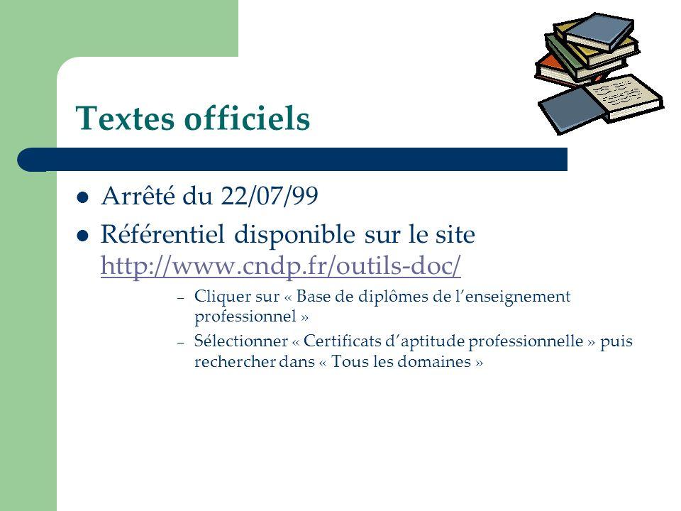 Textes officiels Arrêté du 22/07/99