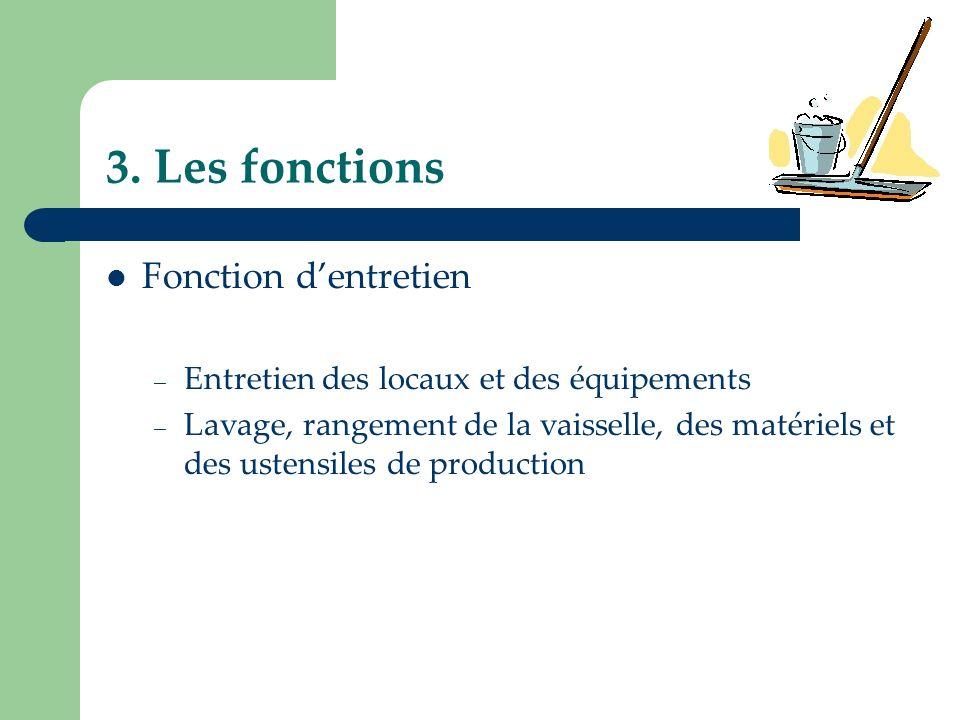 3. Les fonctions Fonction d'entretien