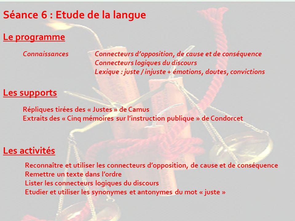 Séance 6 : Etude de la langue