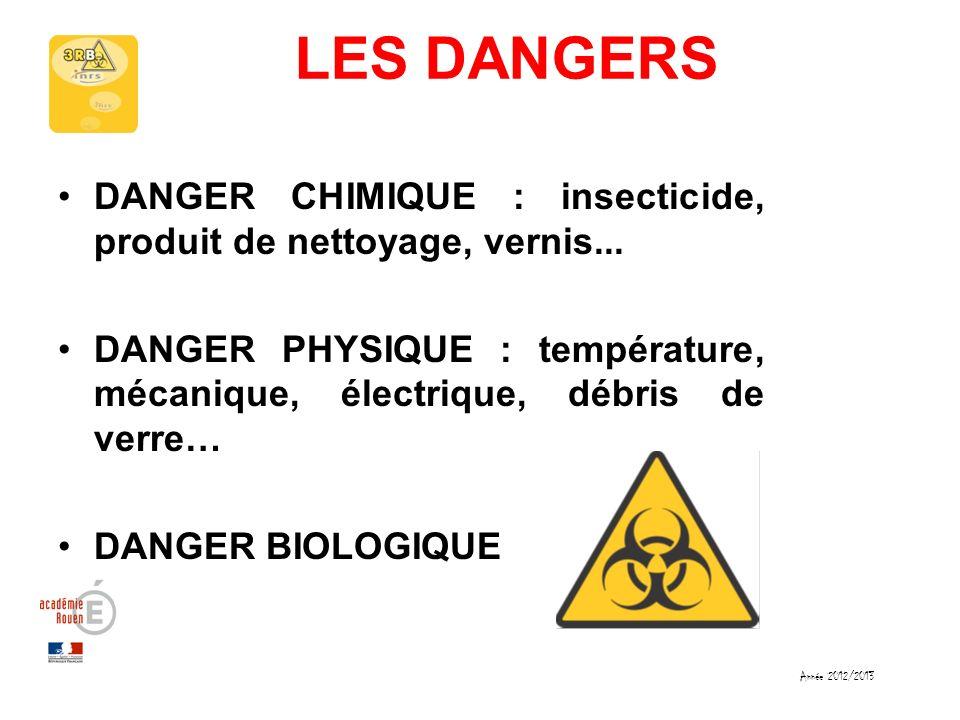 LES DANGERSDANGER CHIMIQUE : insecticide, produit de nettoyage, vernis... DANGER PHYSIQUE : température, mécanique, électrique, débris de verre…