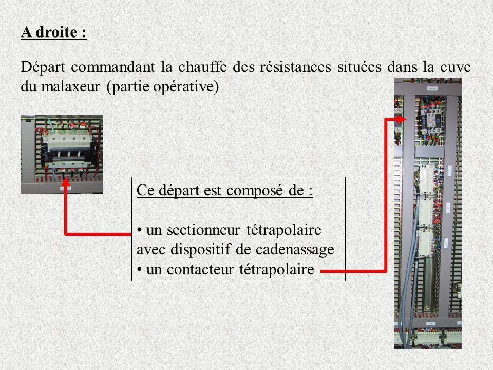 A droite : Départ commandant la chauffe des résistances situées dans la cuve du malaxeur (partie opérative)