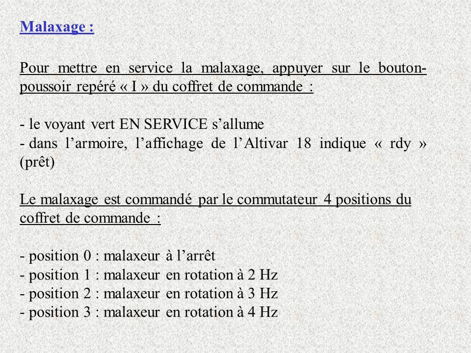 Malaxage : Pour mettre en service la malaxage, appuyer sur le bouton-poussoir repéré « I » du coffret de commande :