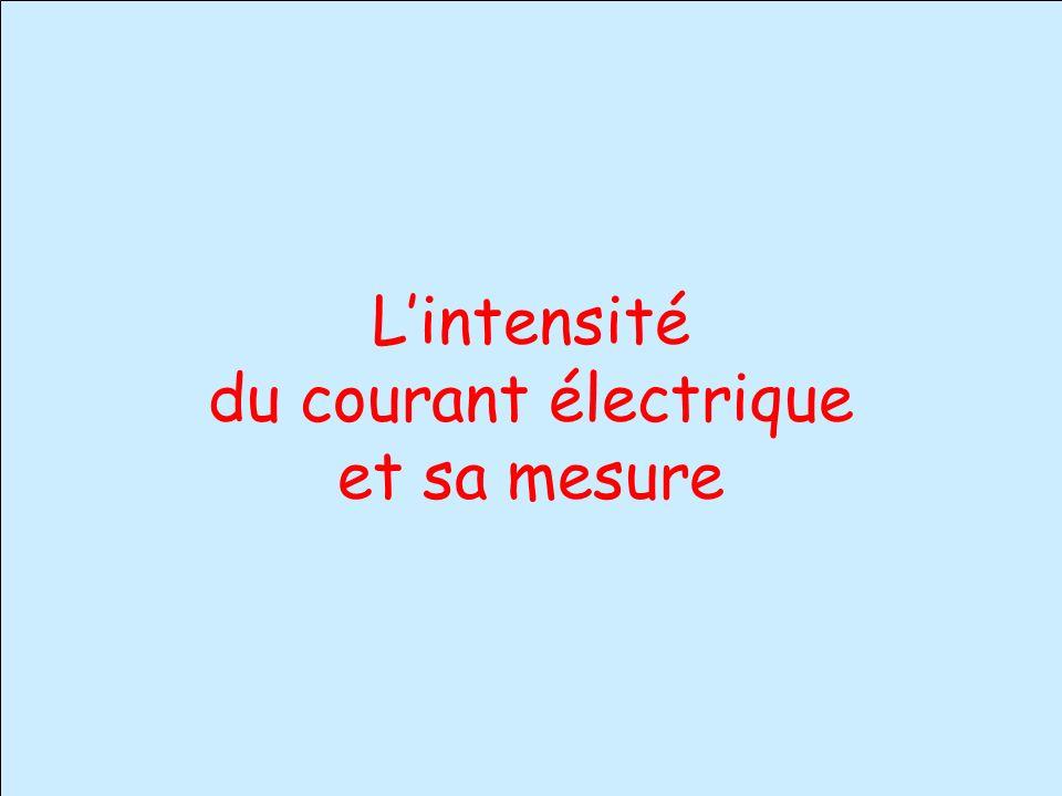 L'intensité du courant électrique et sa mesure
